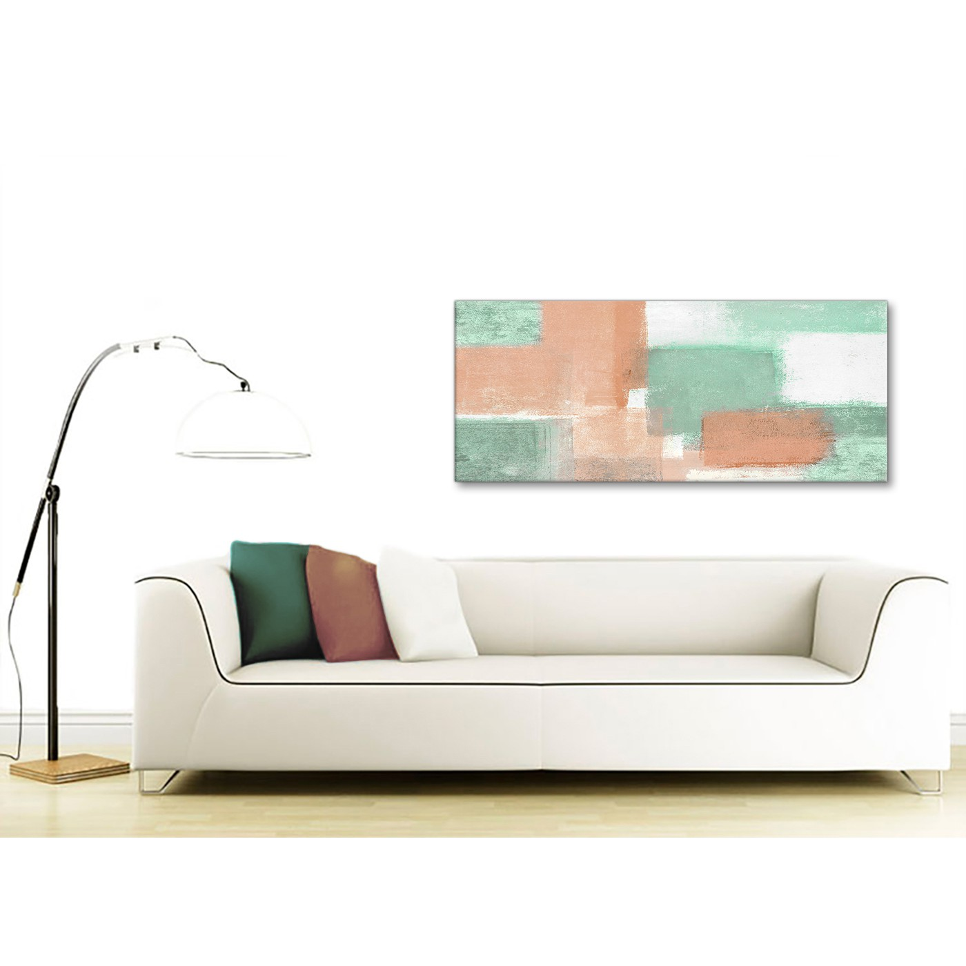 Peach Mint Green Bedroom Canvas Wall Art Accessories - Abstract 1375 ...
