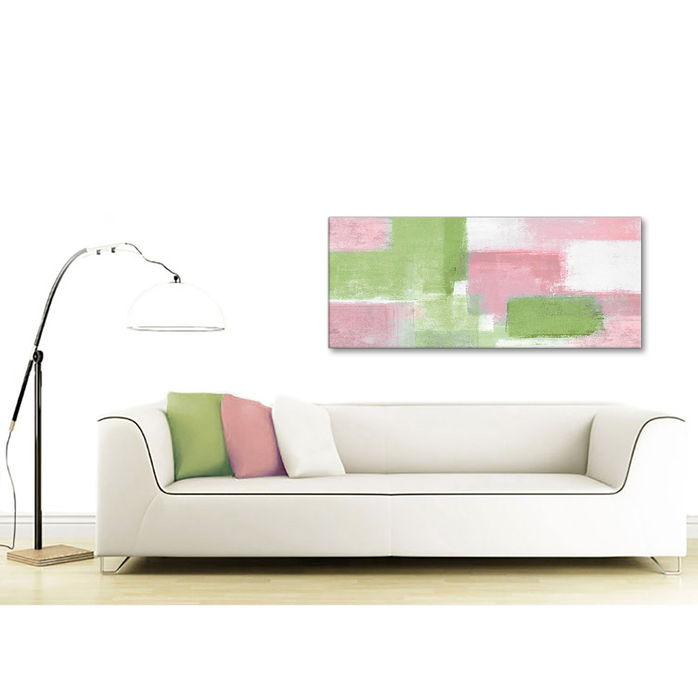 Display Gallery Item 4. Panoramic Pink Lime Green Green Living Room Canvas  Wall Art ...