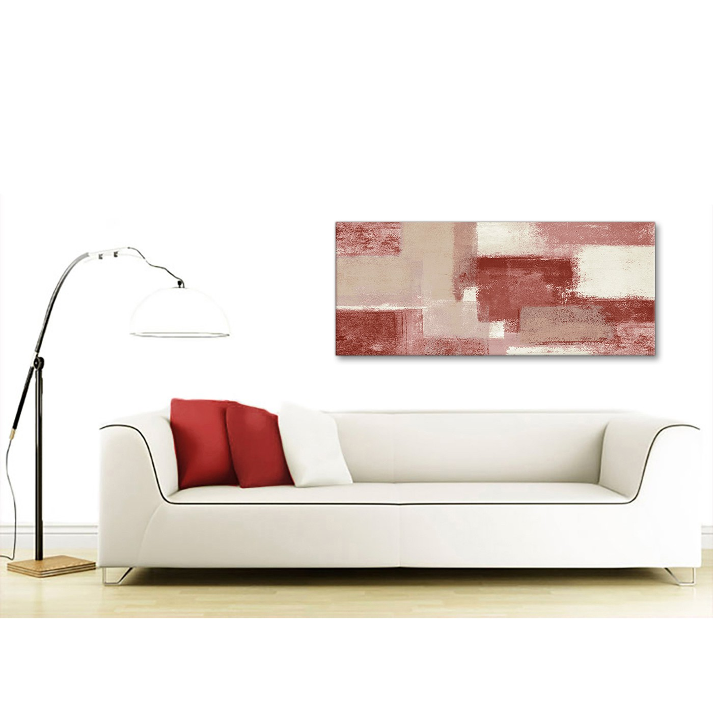 Display Gallery Item 4. Panoramic Red And Cream Living Room Canvas Wall Art  Accessories   Abstract 1370   120cm Print