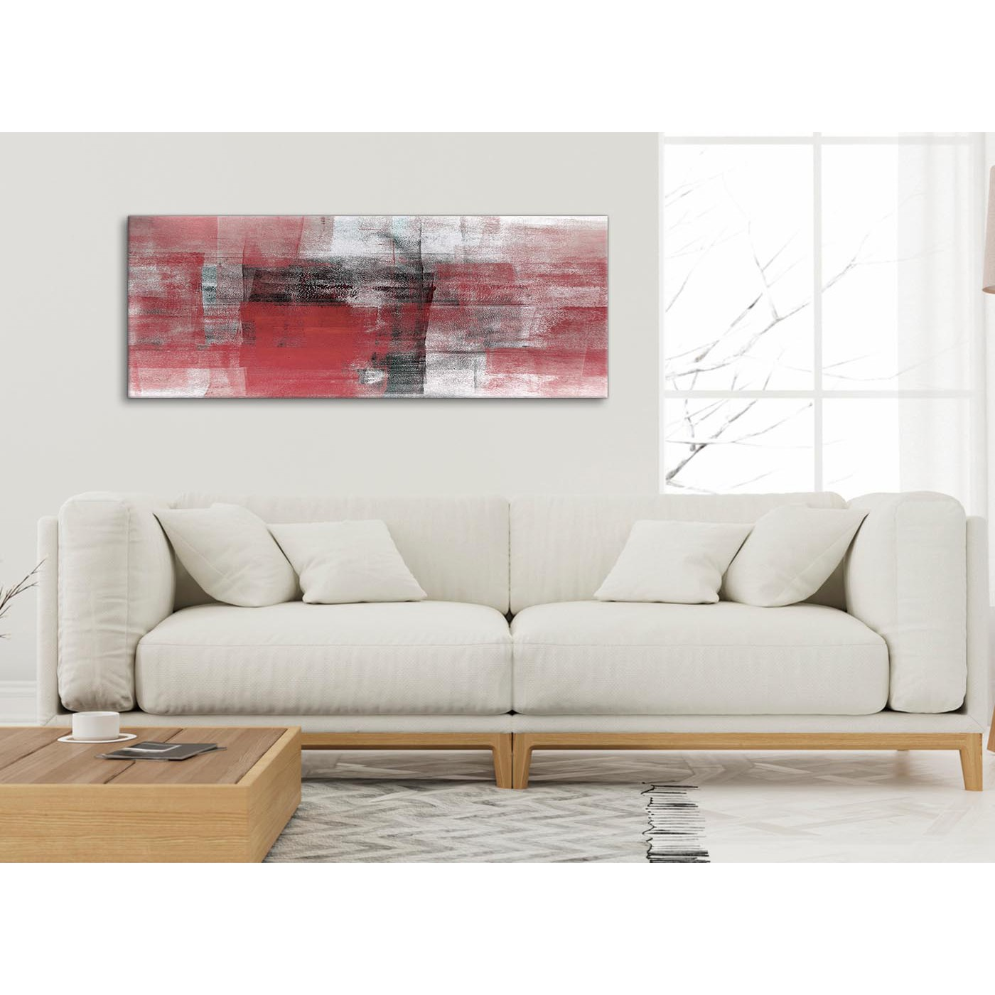 Display Gallery Item 4. Panoramic Red Black White Painting Living Room  Canvas Wall Art Accessories ...
