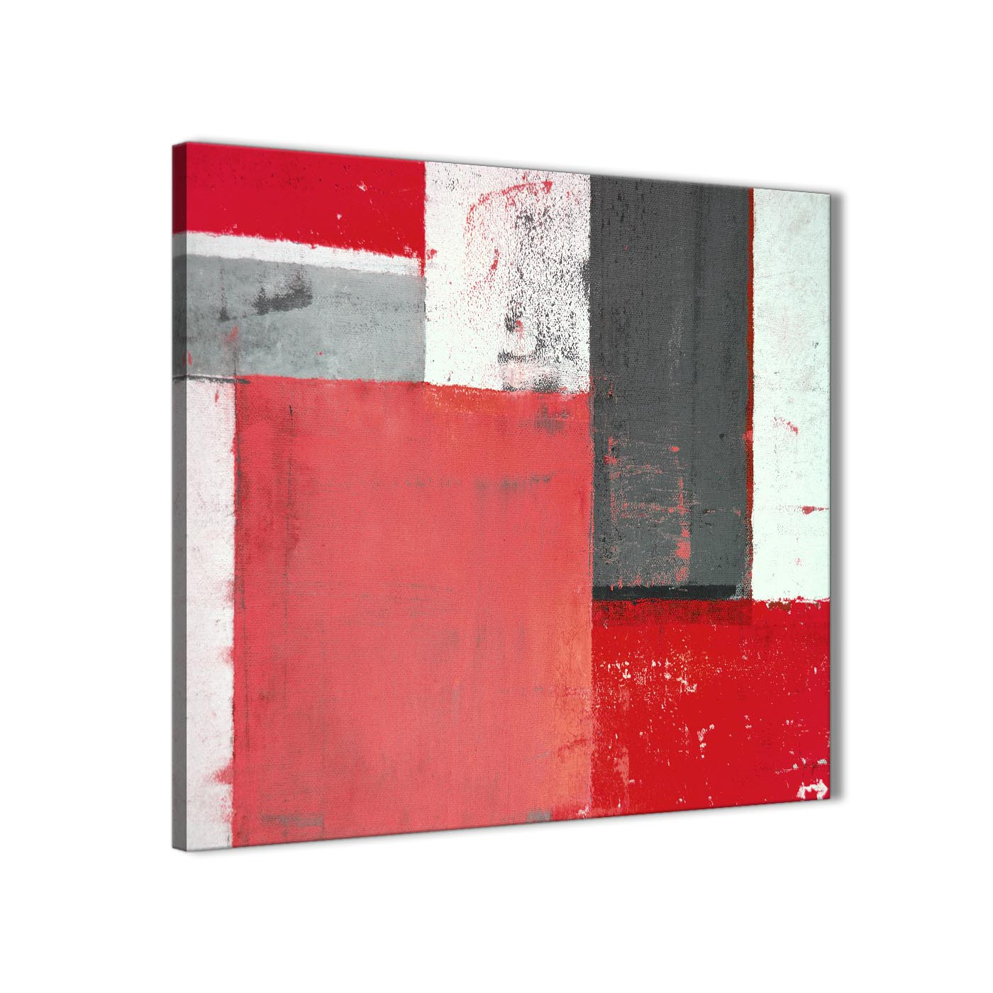 Modern red grey abstract painting canvas wall art modern 64cm square 1s343m for your bedroom display gallery item 1