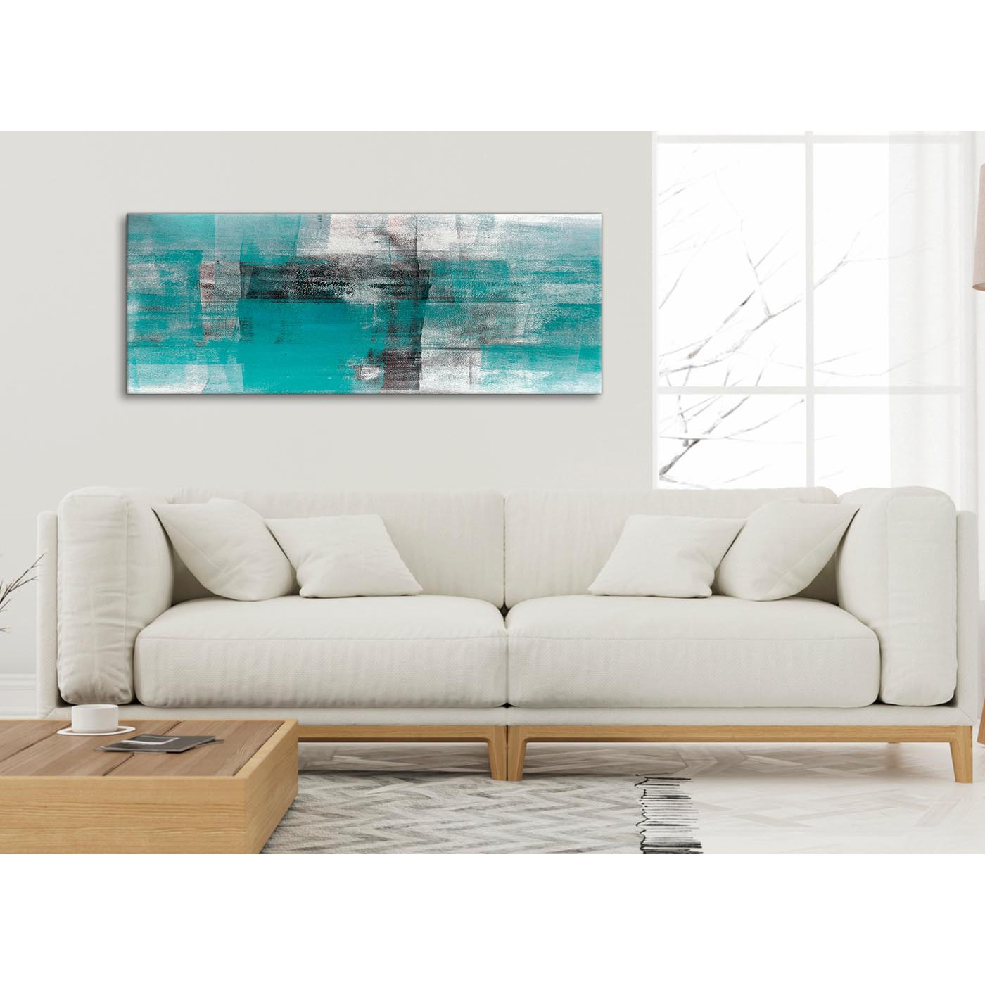 Teal Black White Painting Living Room Canvas Wall Art