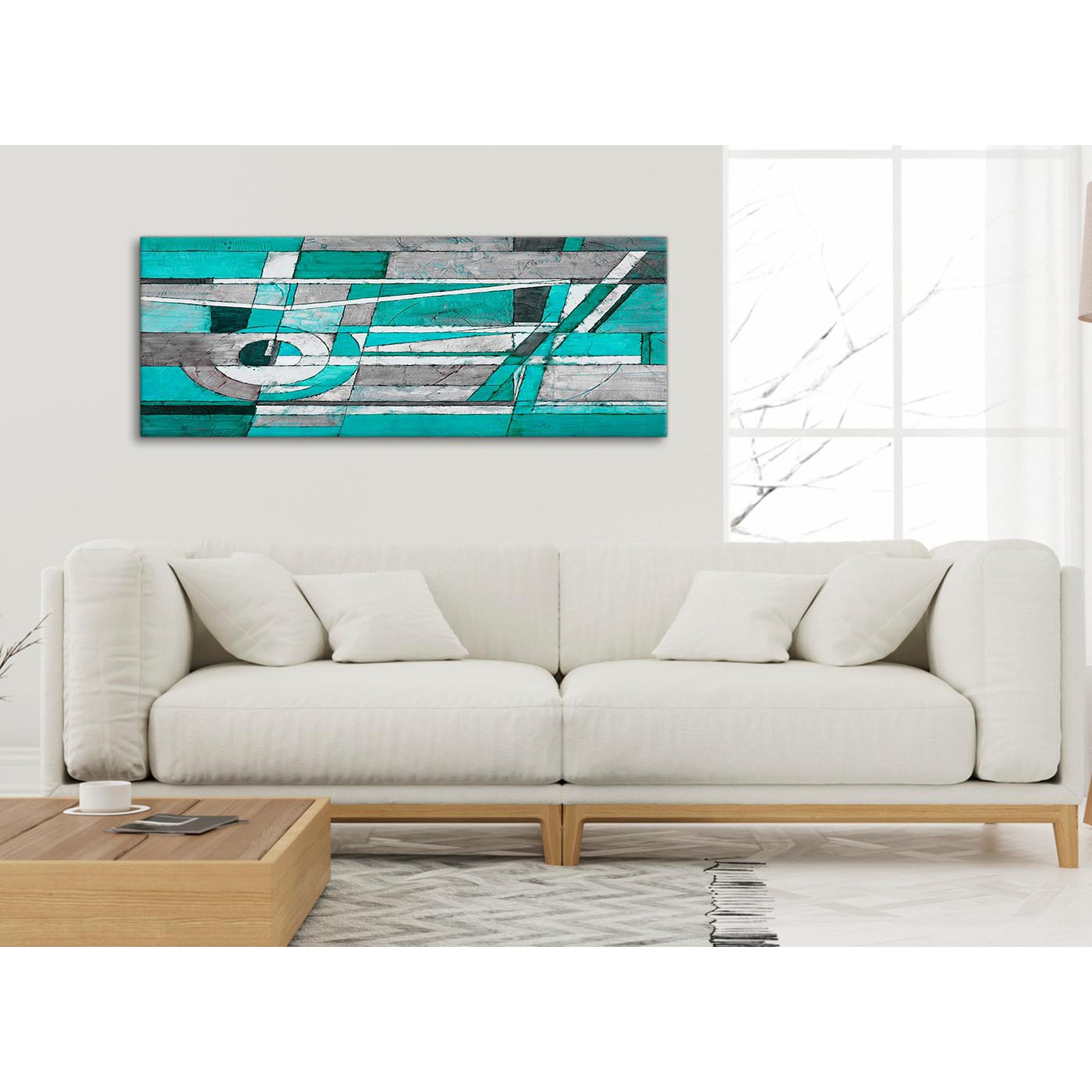 Turquoise Grey Painting Living Room Canvas Pictures Accessories ...