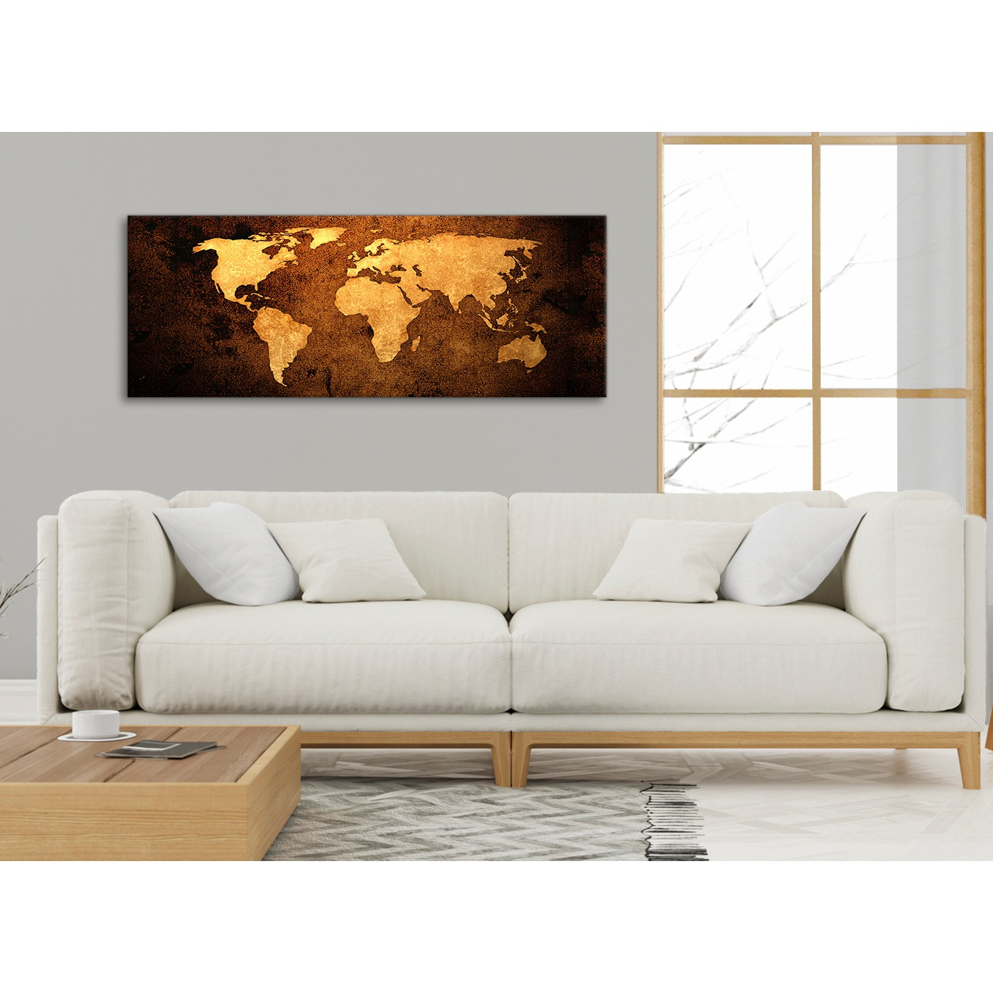 Vintage Old World Map - Brown Cream Canvas - Living Room Canvas Wall ...