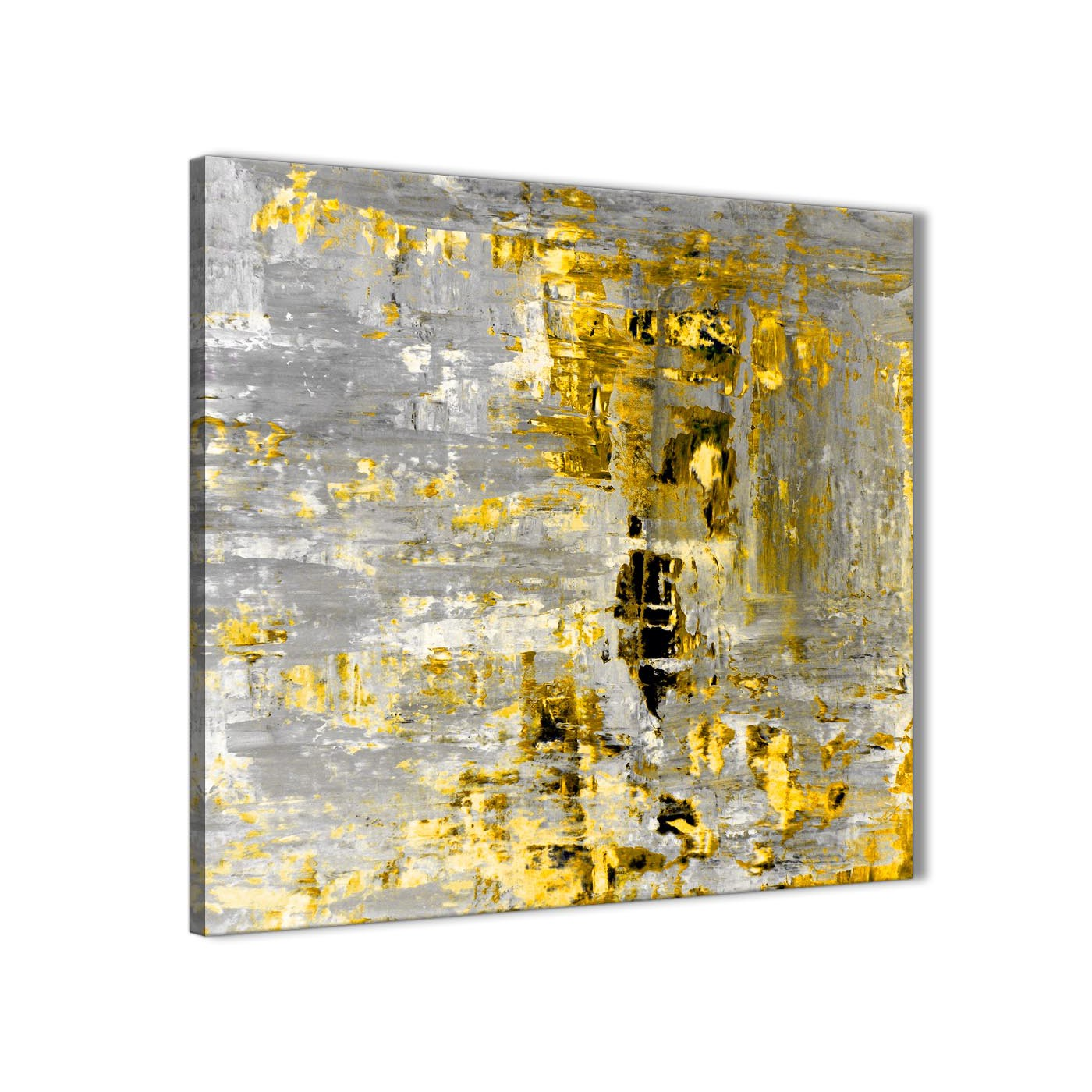 Yellow Abstract Painting Wall Art Print Canvas - Modern 49cm Square ...