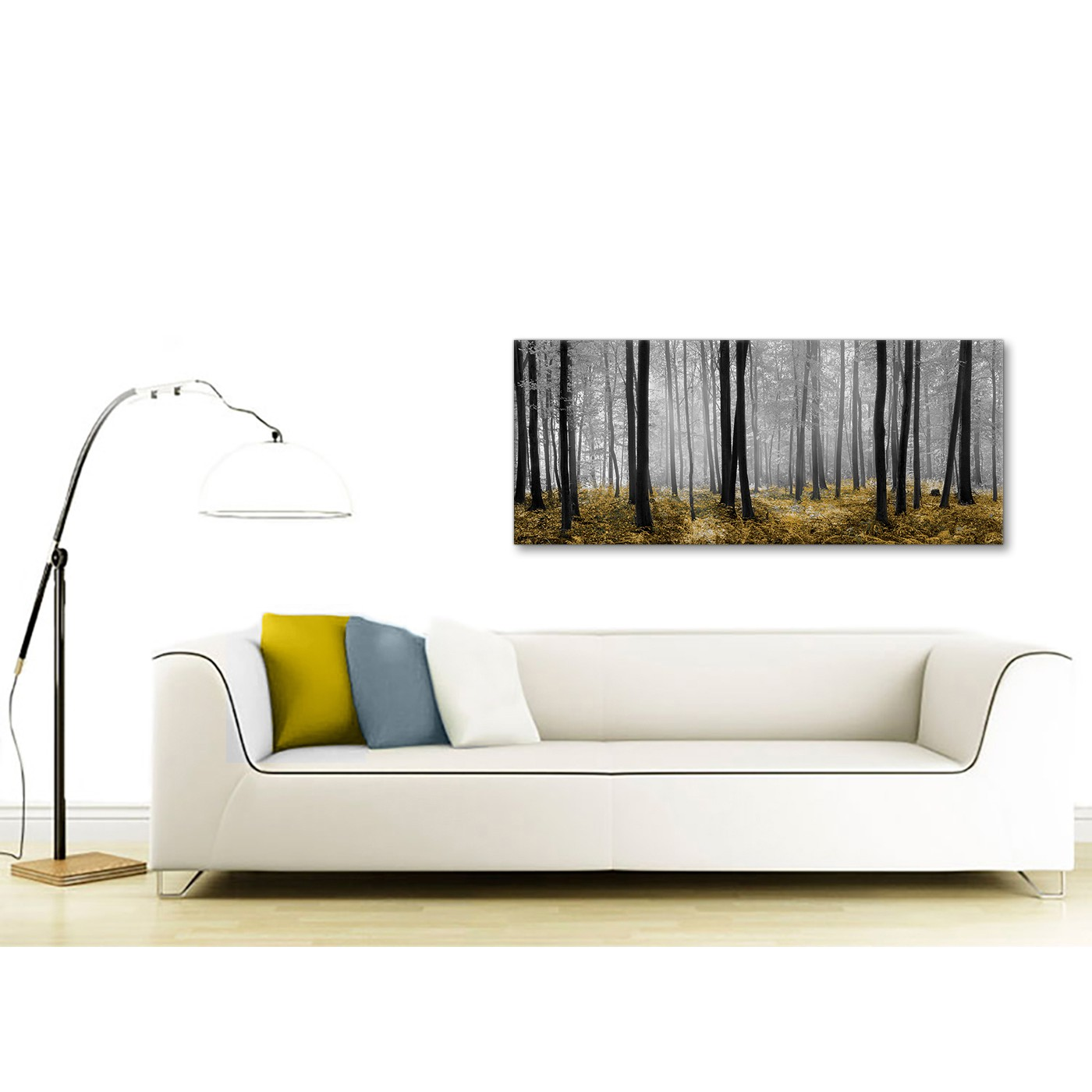 Display Gallery Item 4. Panoramic Yellow And Grey Forest Woodland Trees Living  Room Canvas Pictures Accessories ...