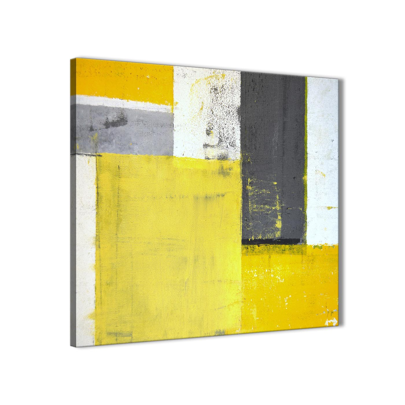 Yellow Grey Abstract Painting Canvas Wall Art Print - Modern 64cm ...