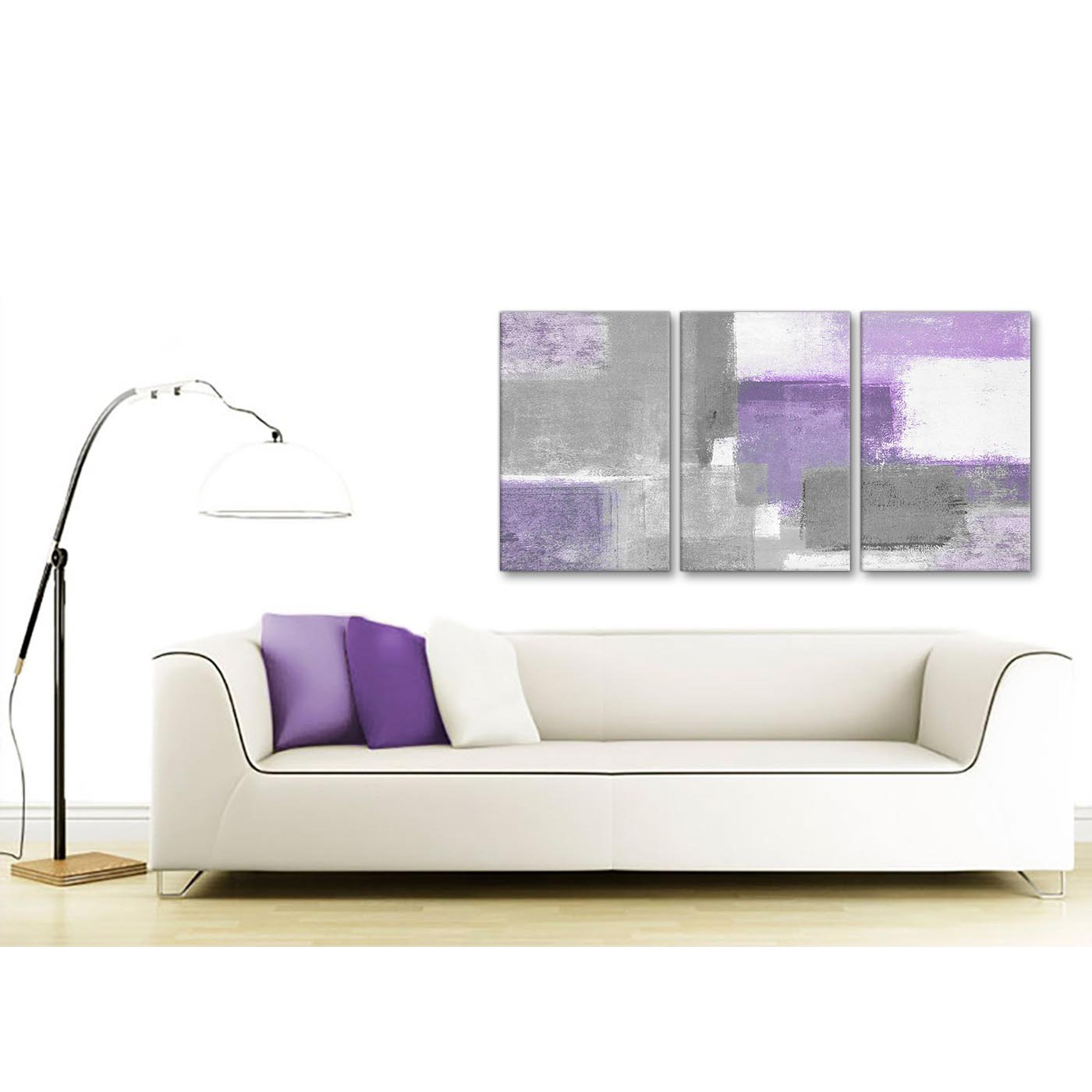 3 Piece Purple Cherry Blossom Muti Panel Abstract Modern: 3 Piece Purple Grey Painting Kitchen Canvas Pictures Decor