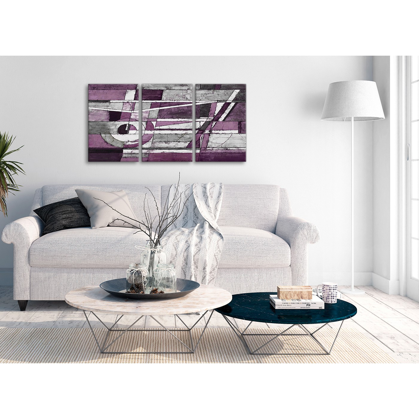 3 Panel Aubergine Grey White Painting Dining Room Canvas