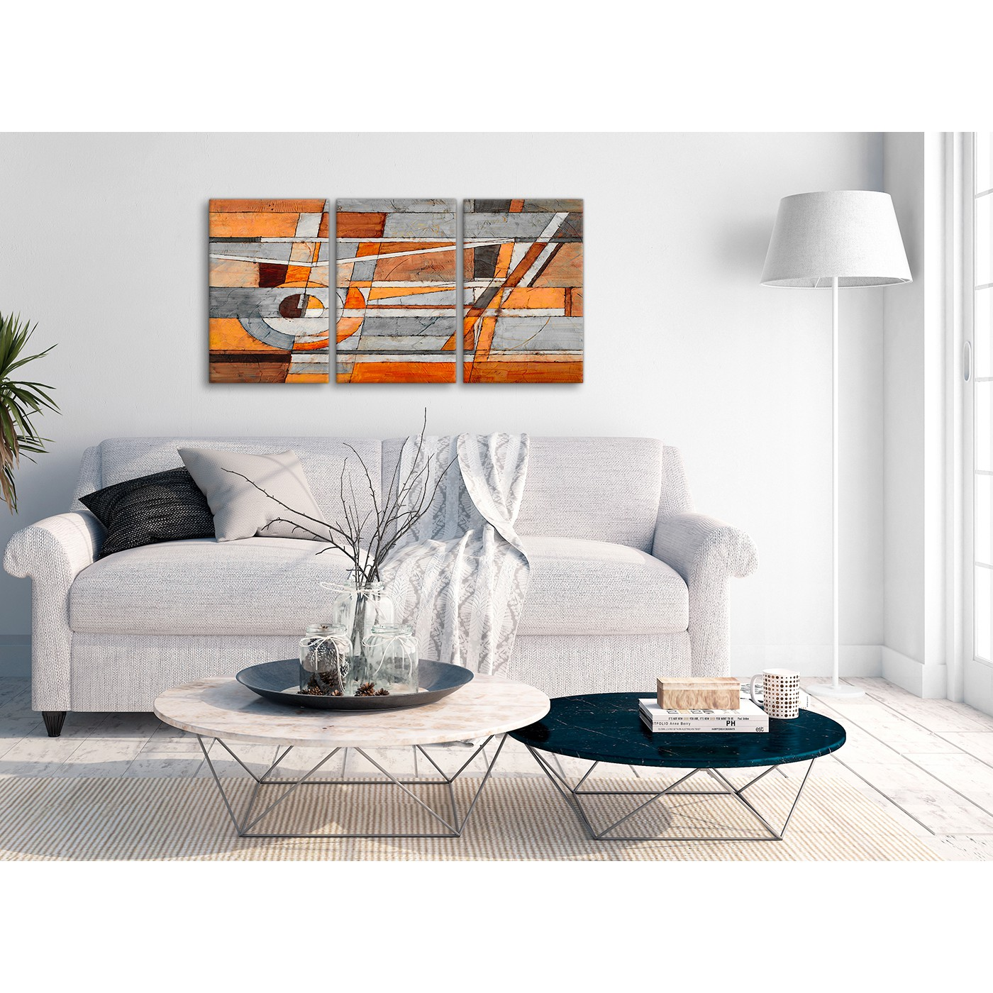 3 Piece Burnt Orange Grey Painting Office Canvas Wall Art Decor ...