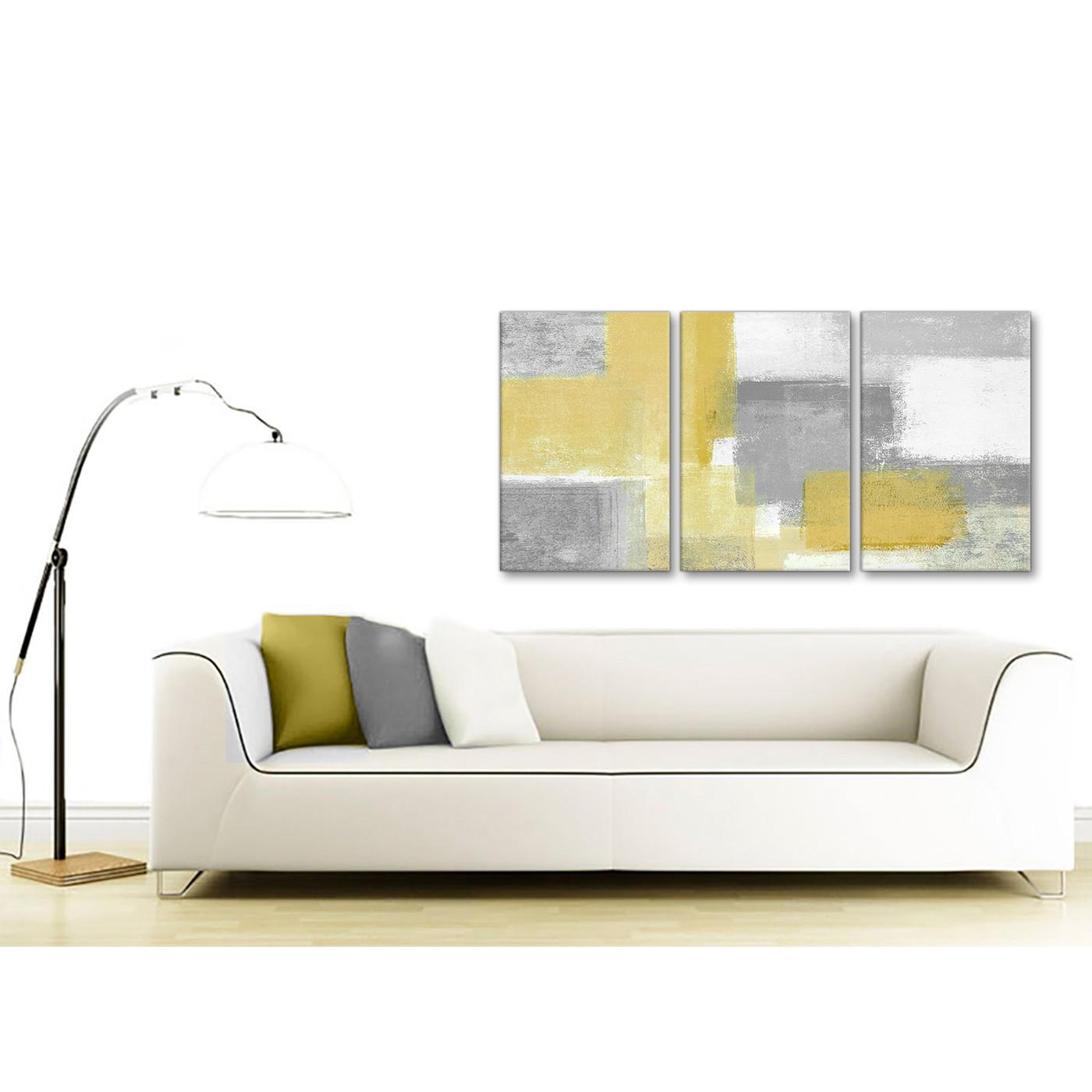 3 Panel Mustard Yellow Grey Kitchen Canvas Wall Art Decor - Abstract ...