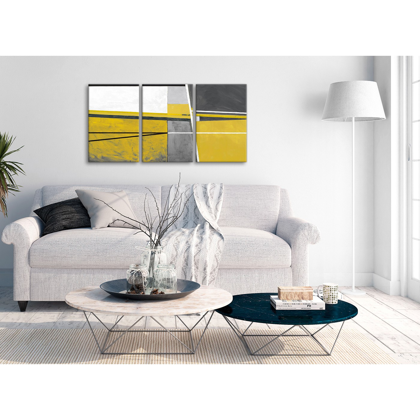 3 Panel Mustard Yellow Grey Painting Hallway Canvas Pictures ...