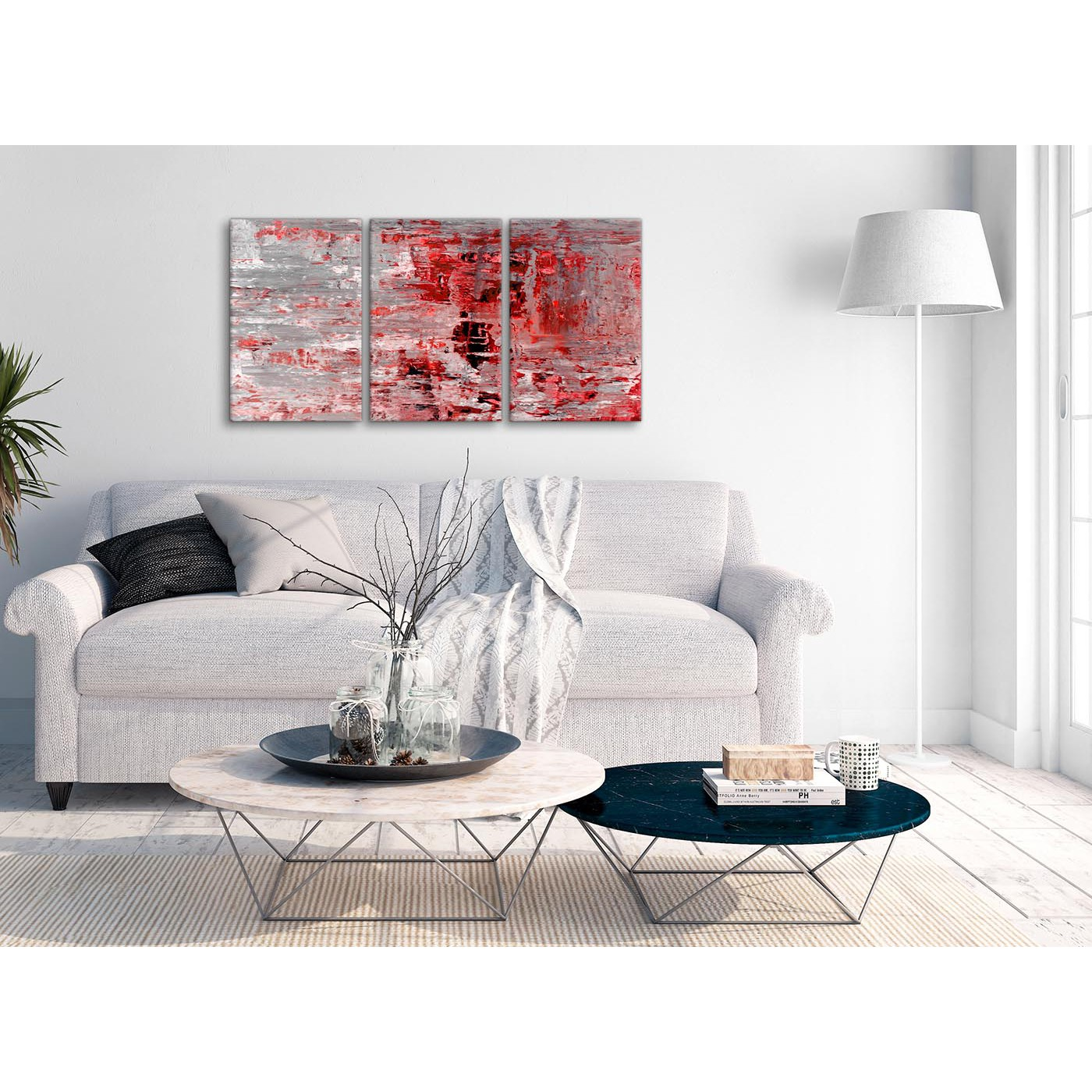 3 Piece Red Grey Painting Living Room Canvas Wall Art Decor ...