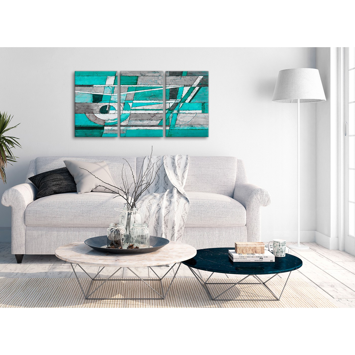 3 Panel Turquoise Grey Painting Kitchen Canvas Pictures Accessories ...