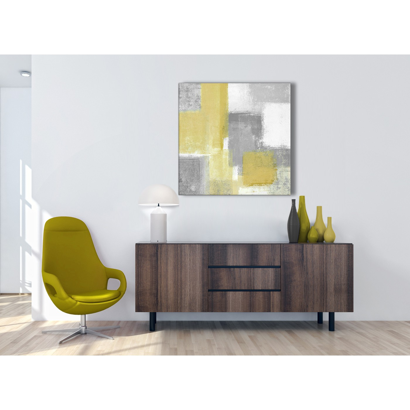 Mustard Yellow Grey Abstract Living Room Canvas Pictures Accessories ...