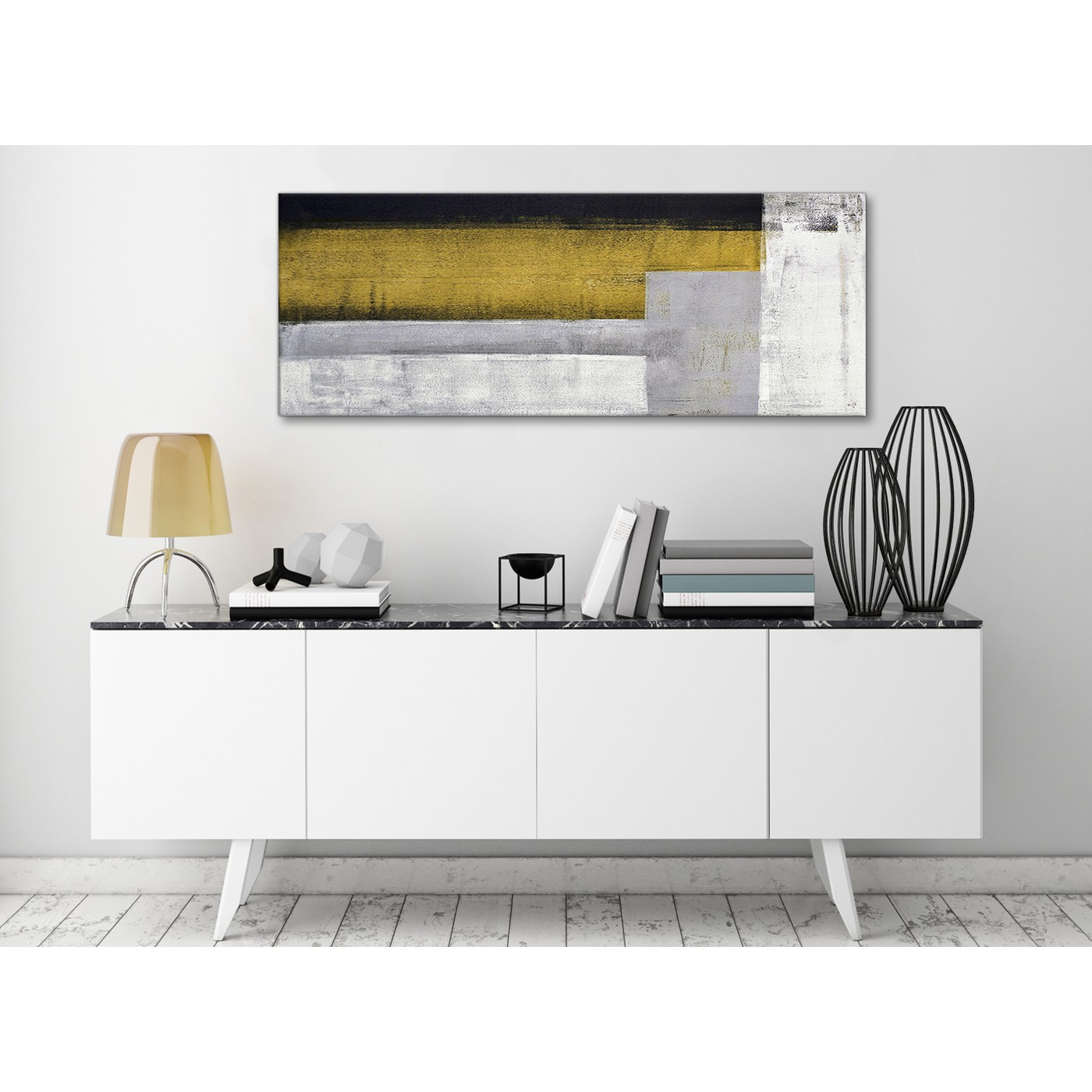 Mustard Yellow Grey Painting Bedroom Canvas Wall Art Accessories ...
