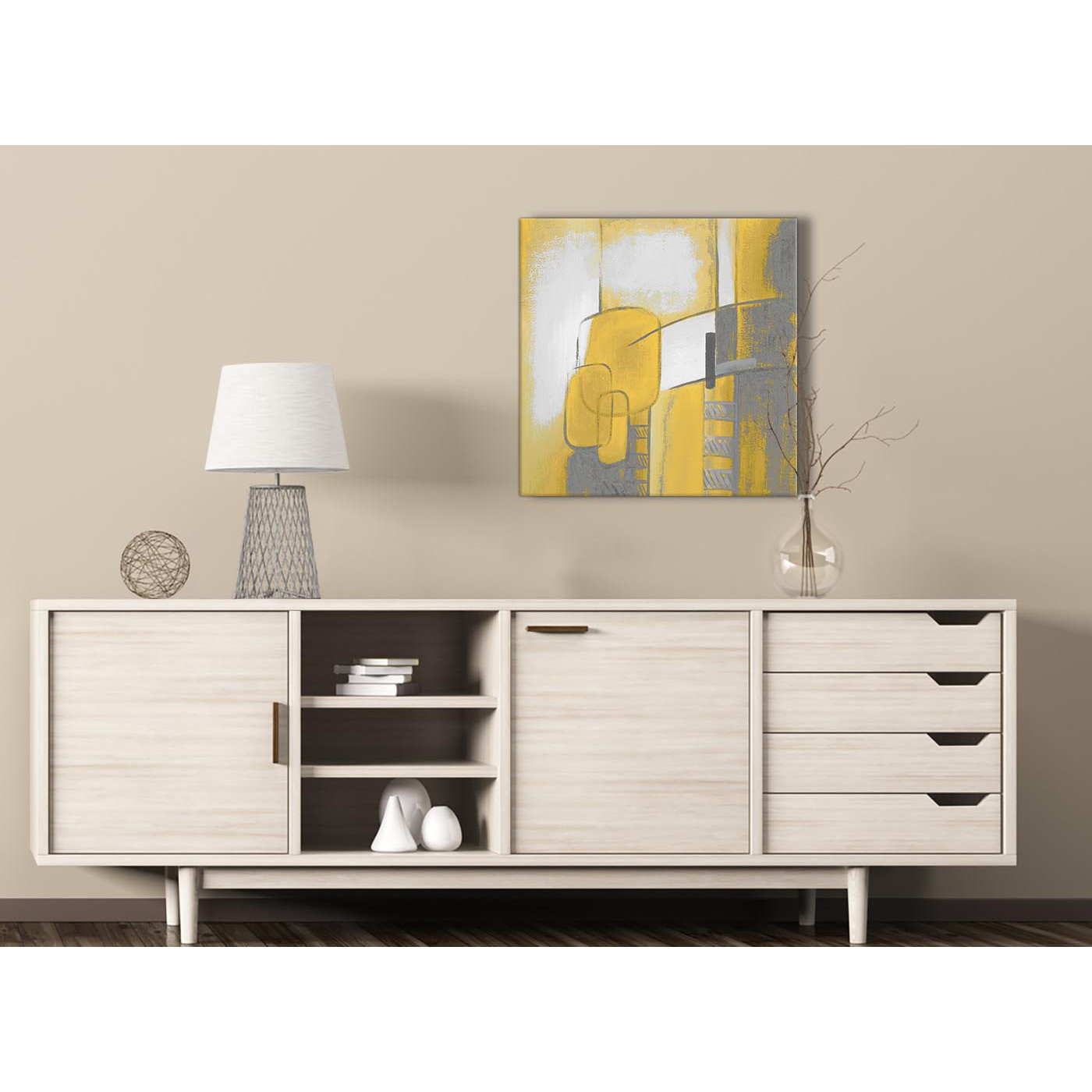 Mustard Yellow Kitchen Decor: Mustard Yellow Grey Painting Hallway Canvas Wall Art Decor