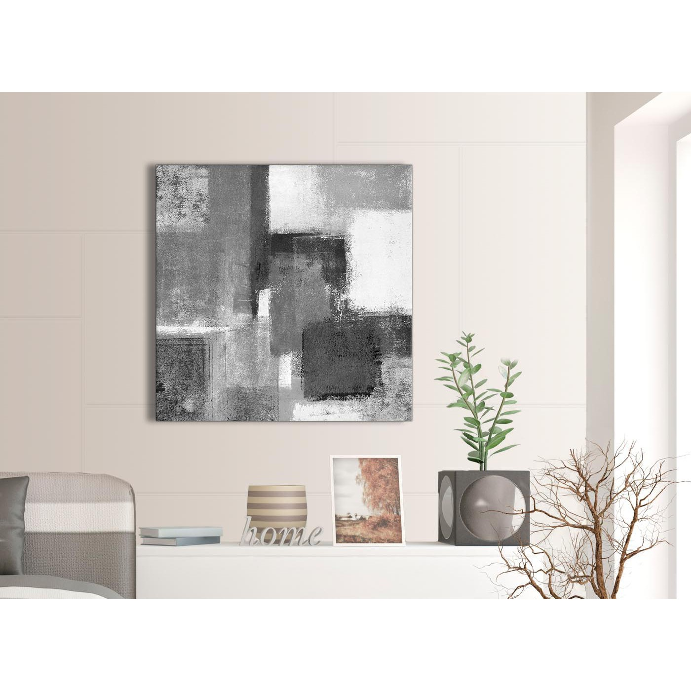 Grey Yellow Green Living Room Black White Grey Abstract Office Canvas Wall Art
