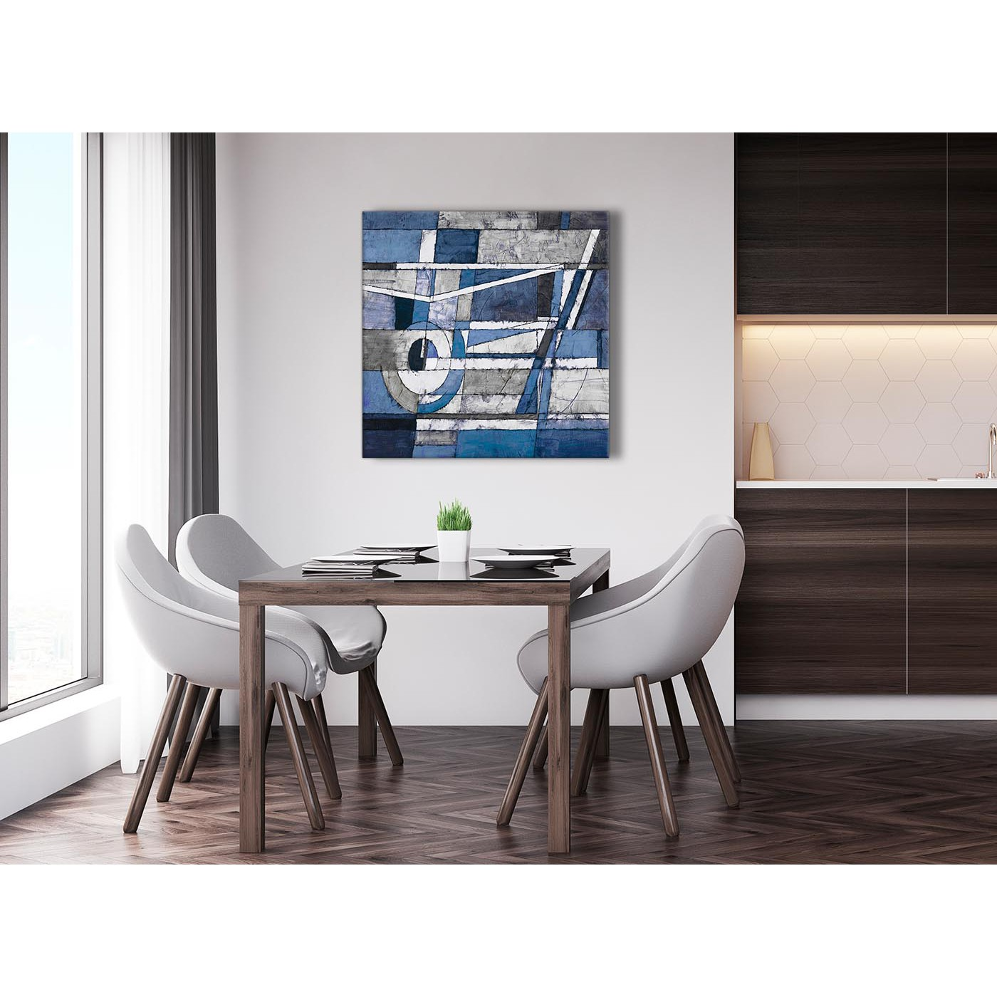 Indigo Blue White Painting Abstract Living Room Canvas Wall Art ...