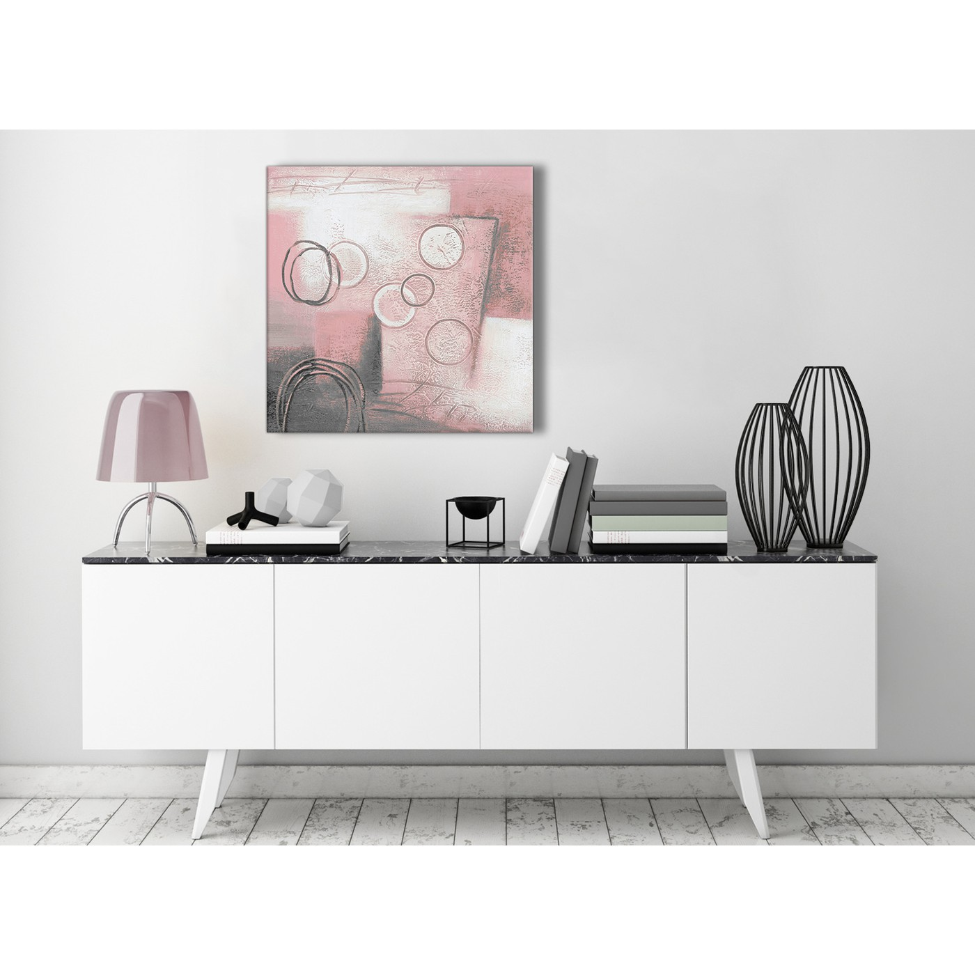 Tulip Rose Wall Art Painting For Kitchen Room Golden: Blush Pink Grey Painting Kitchen Canvas Pictures