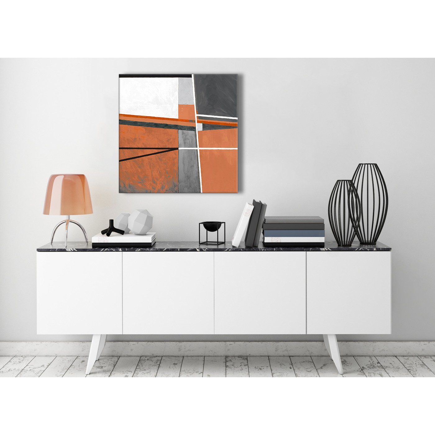 Burnt Orange Grey Painting Kitchen Canvas Pictures Decor - Abstract ...