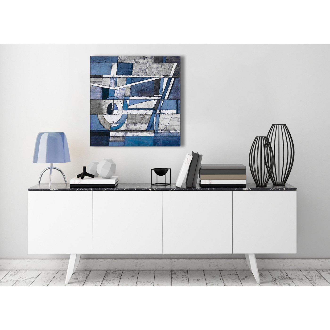 Display Gallery Item 3 Contemporary Indigo Blue White Painting Living Room Canvas Wall Art Decorations