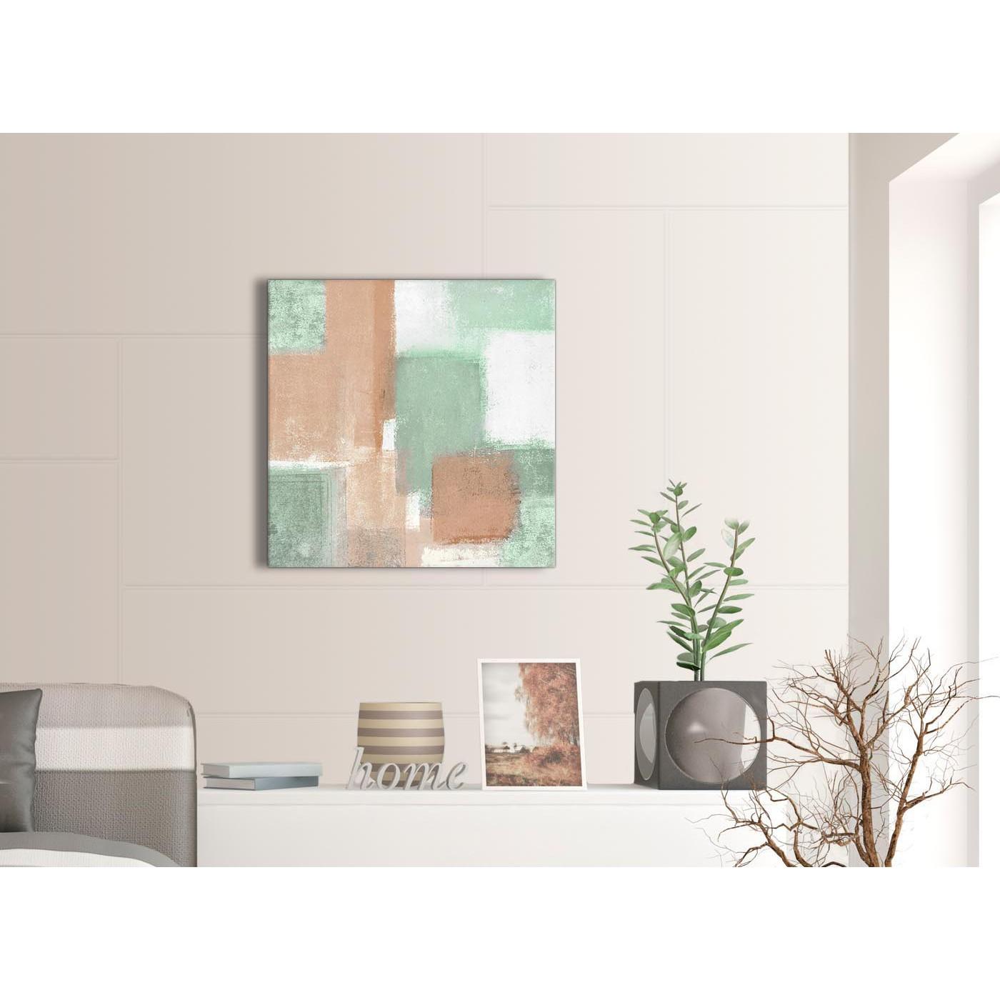 Peach Mint Green Living Room Canvas Wall Art Decor - Abstract 1s375m ...