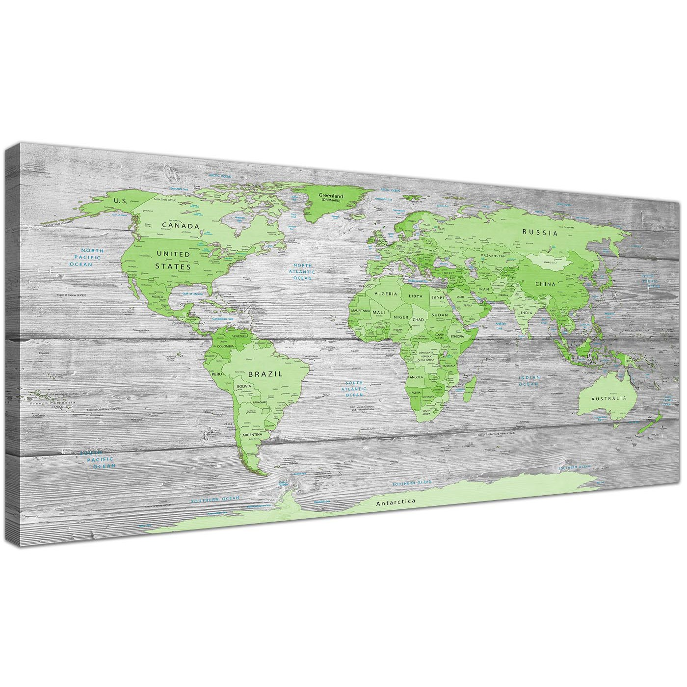 Large lime green grey world map atlas canvas wall art print 120cm oversized green grey large lime green grey world map atlas canvas wall art print maps canvas display gallery item 1 gumiabroncs Images