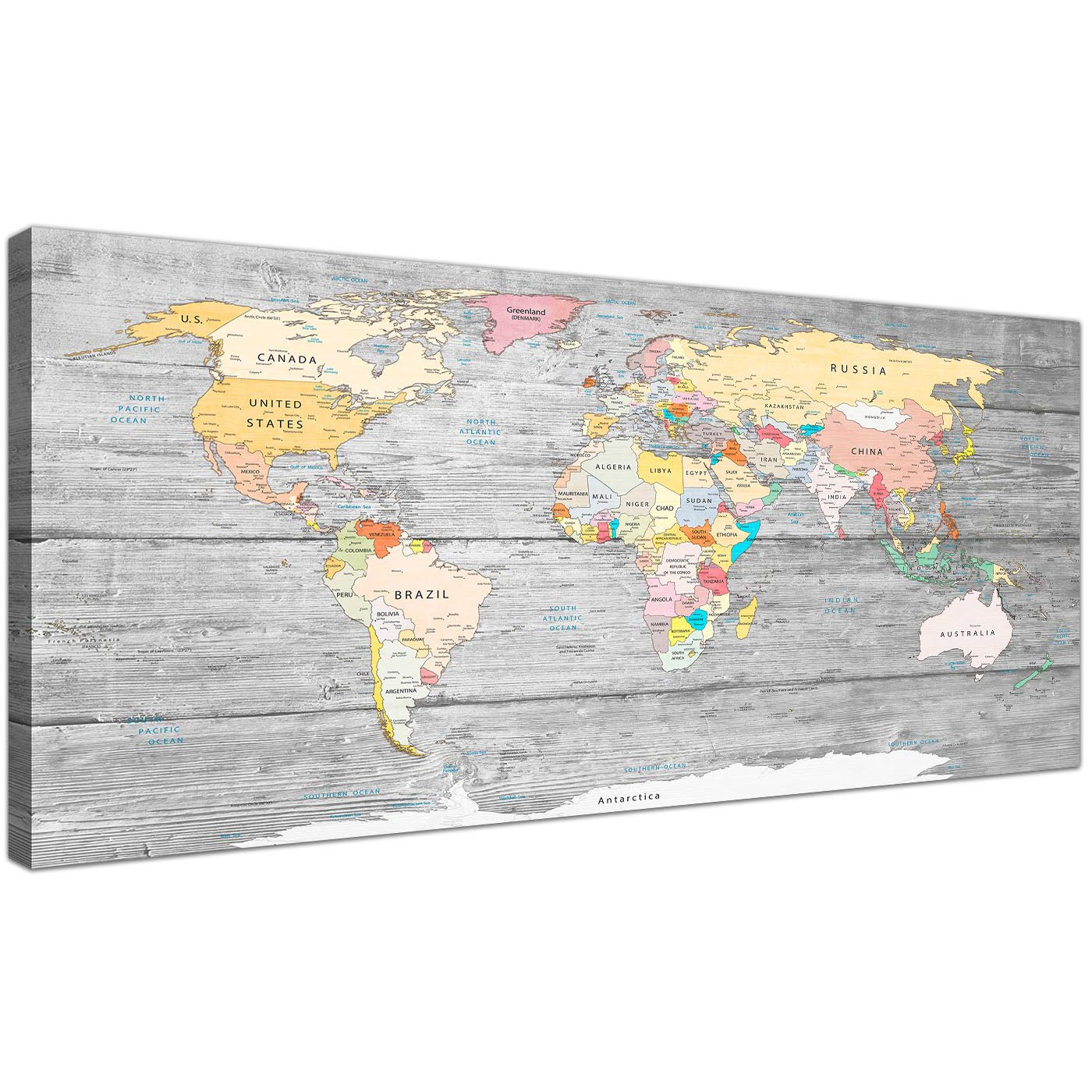 oversized grey large map of world canvas art print colourful light grey maps canvas modern 120cm display gallery item 1