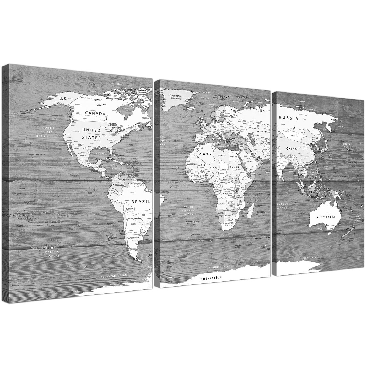 Large black white map of world atlas canvas wall art print split oversized large black white map of world atlas canvas wall art print multi 3 panel 3315 display gallery item 1 gumiabroncs Images