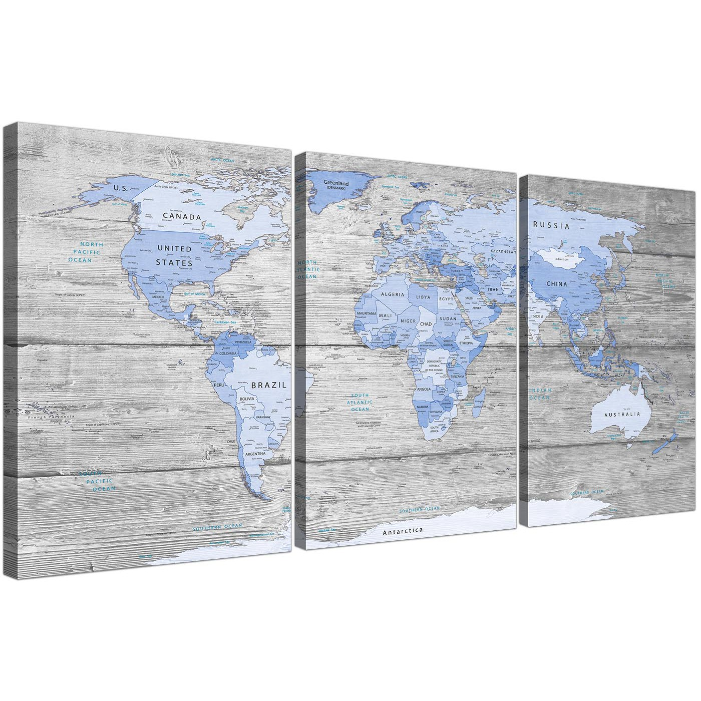 Large blue grey map of world atlas canvas multi 3 part 3303 oversized large blue grey map of world atlas maps canvas multi 3 set 3303 for your display gallery item 1 gumiabroncs