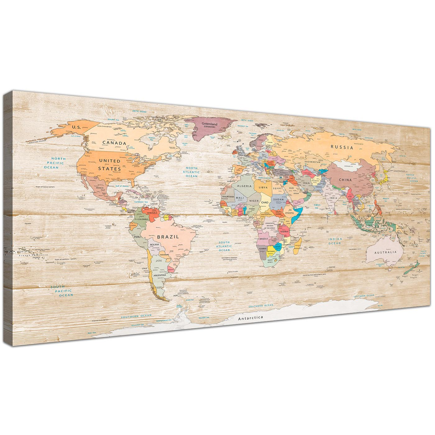 Map of the World Canvas Art Print Canvas Map on