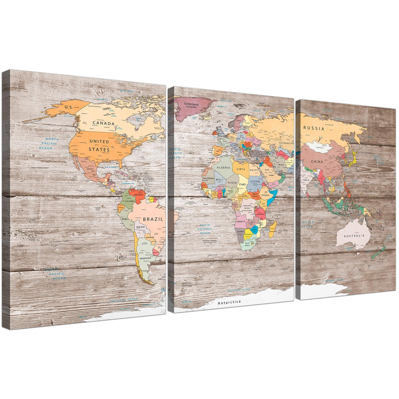 Large decorative map of world atlas canvas wall art print multi 3 oversized large decorative map of the world atlas canvas multi triptych 3326 for your kitchen display gallery item 1 gumiabroncs Gallery