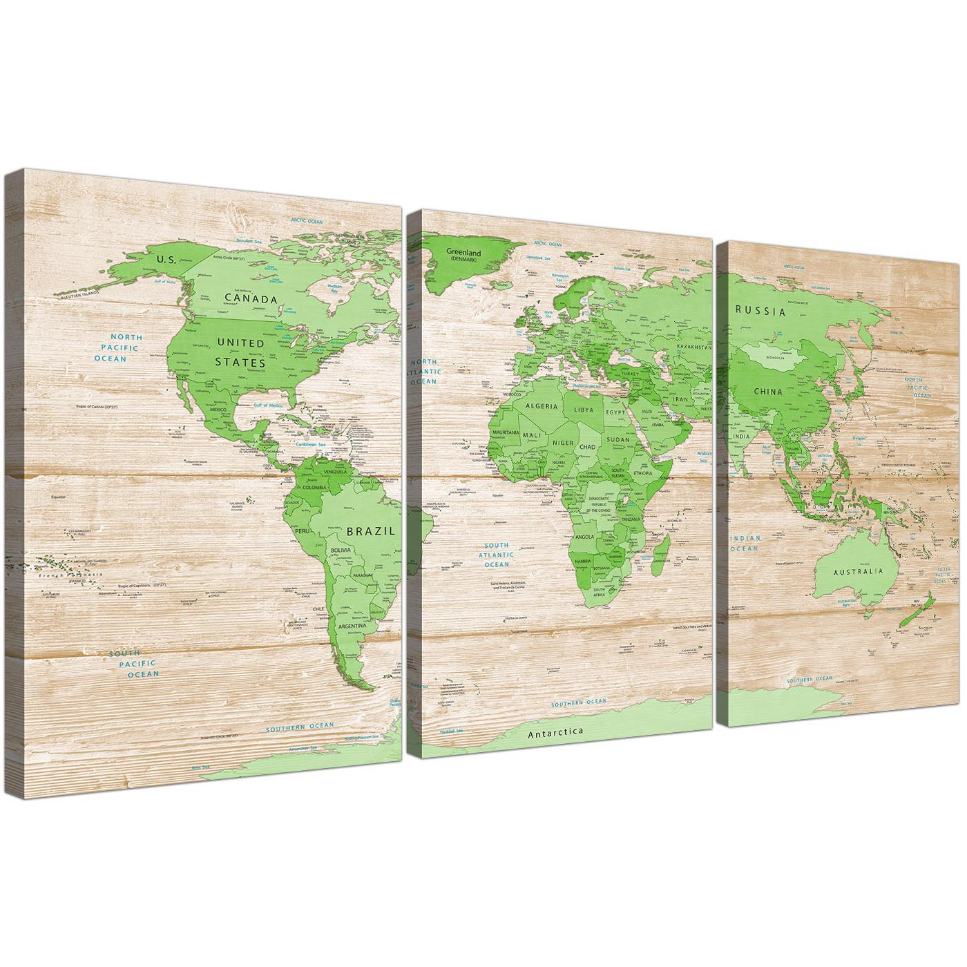 Large Lime Green Cream World Map Atlas Canvas Wall Art Prints