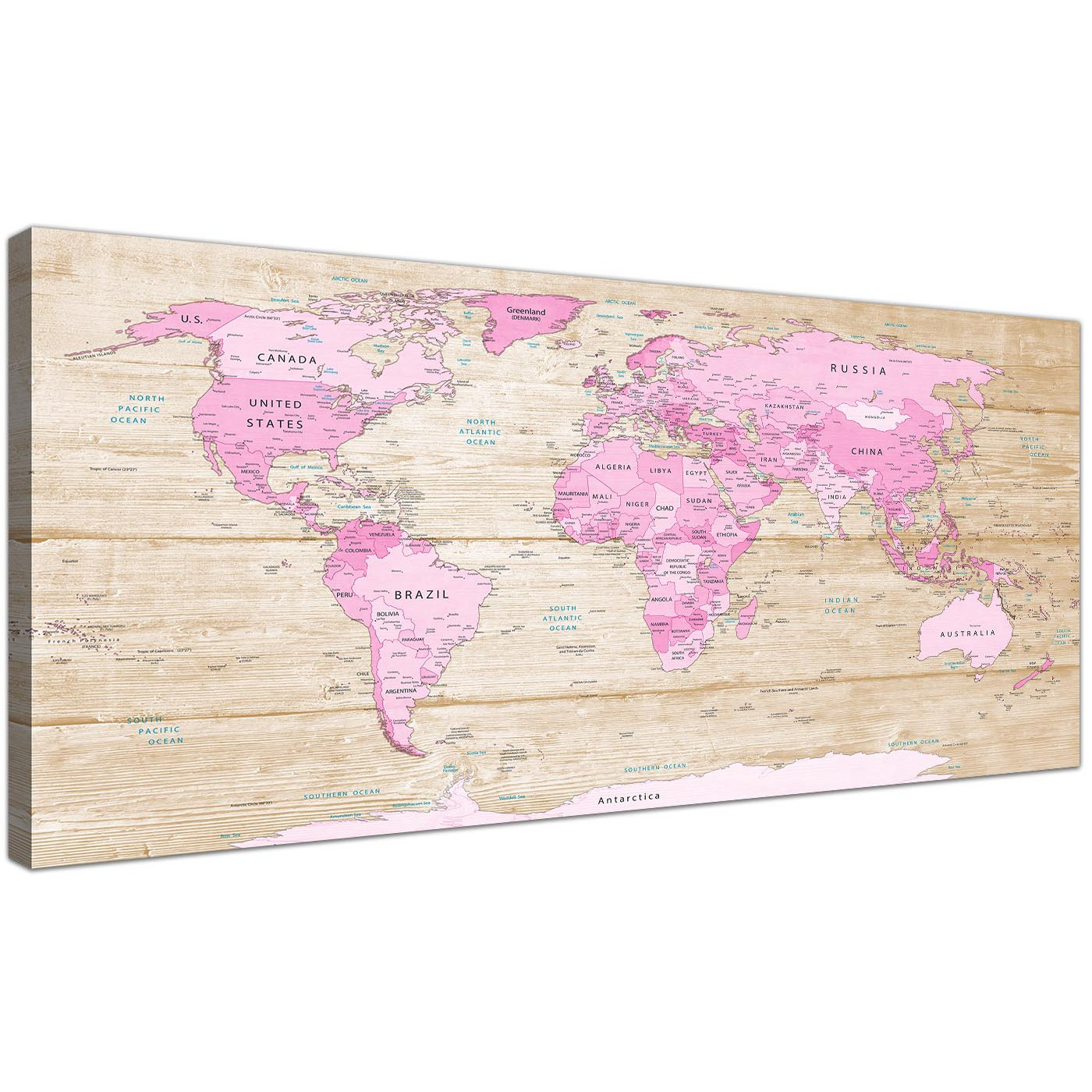 Large pink cream map of world atlas canvas wall art print modern oversized large pink cream map of world atlas canvas modern 120cm wide 1309 for your teenage display gallery item 1 gumiabroncs Gallery