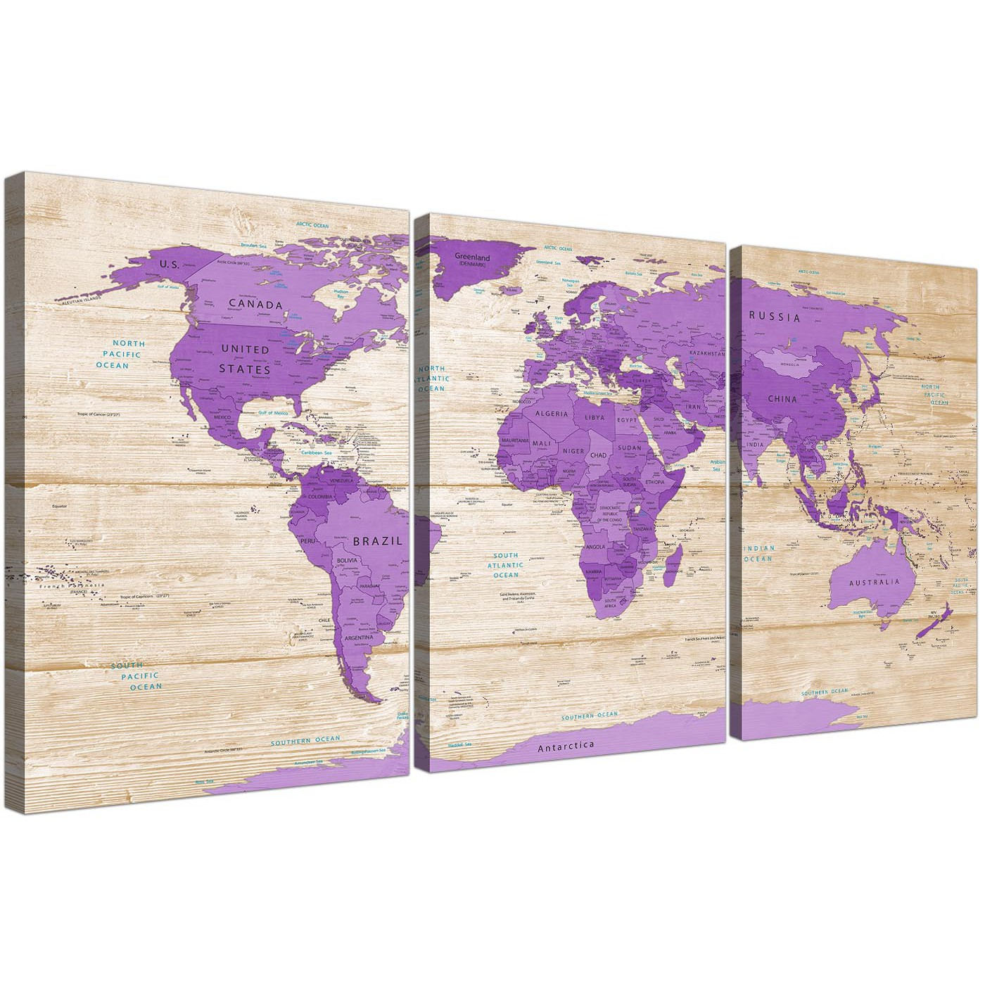 Large Purple Cream Map of the World Atlas Canvas Wall Art Prints ...