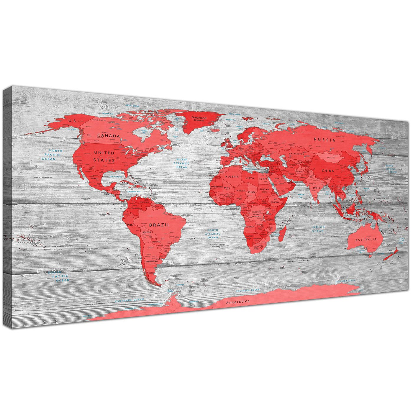 Oversized Large Red Grey Map Of The World Atlas Canvas Wall Art Print  Modern 120cm Wide Display Gallery Item 1 ...