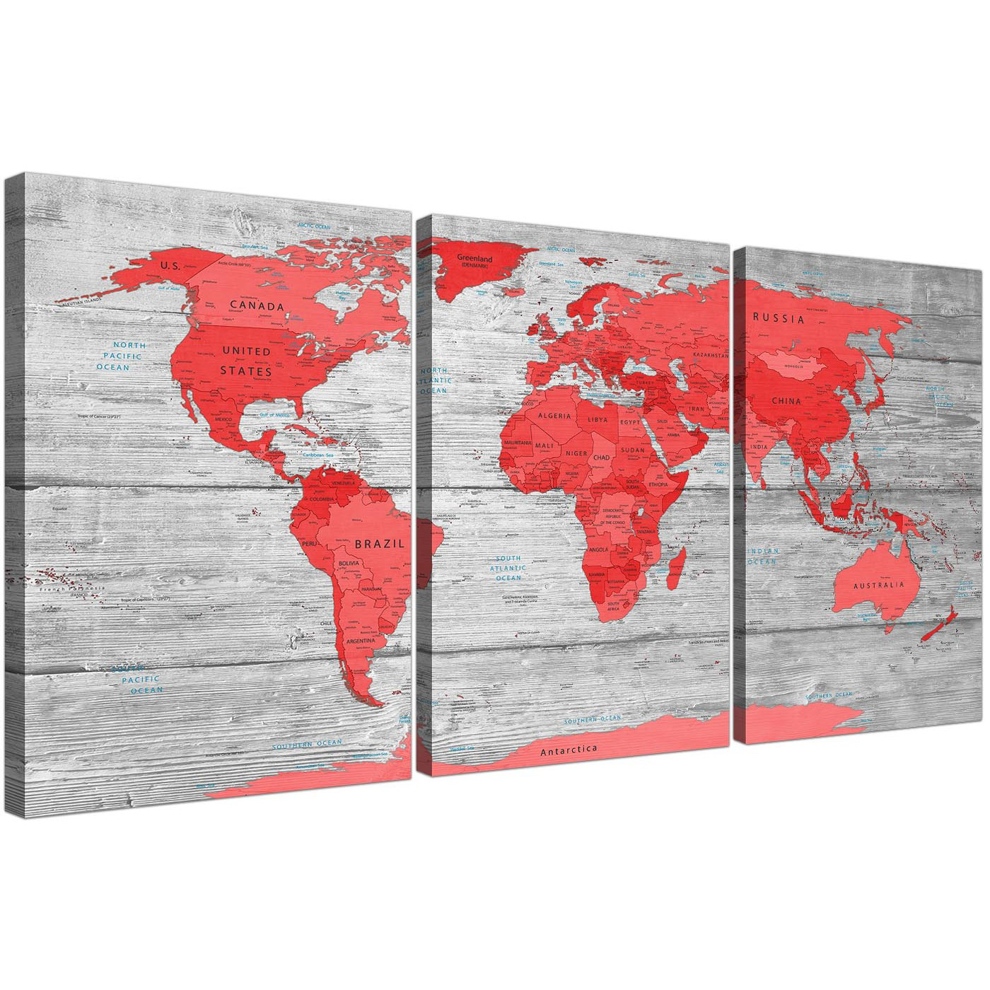 Large Red Grey Map of the World Atlas Canvas Wall Art Print Split 3 Panel -  3300