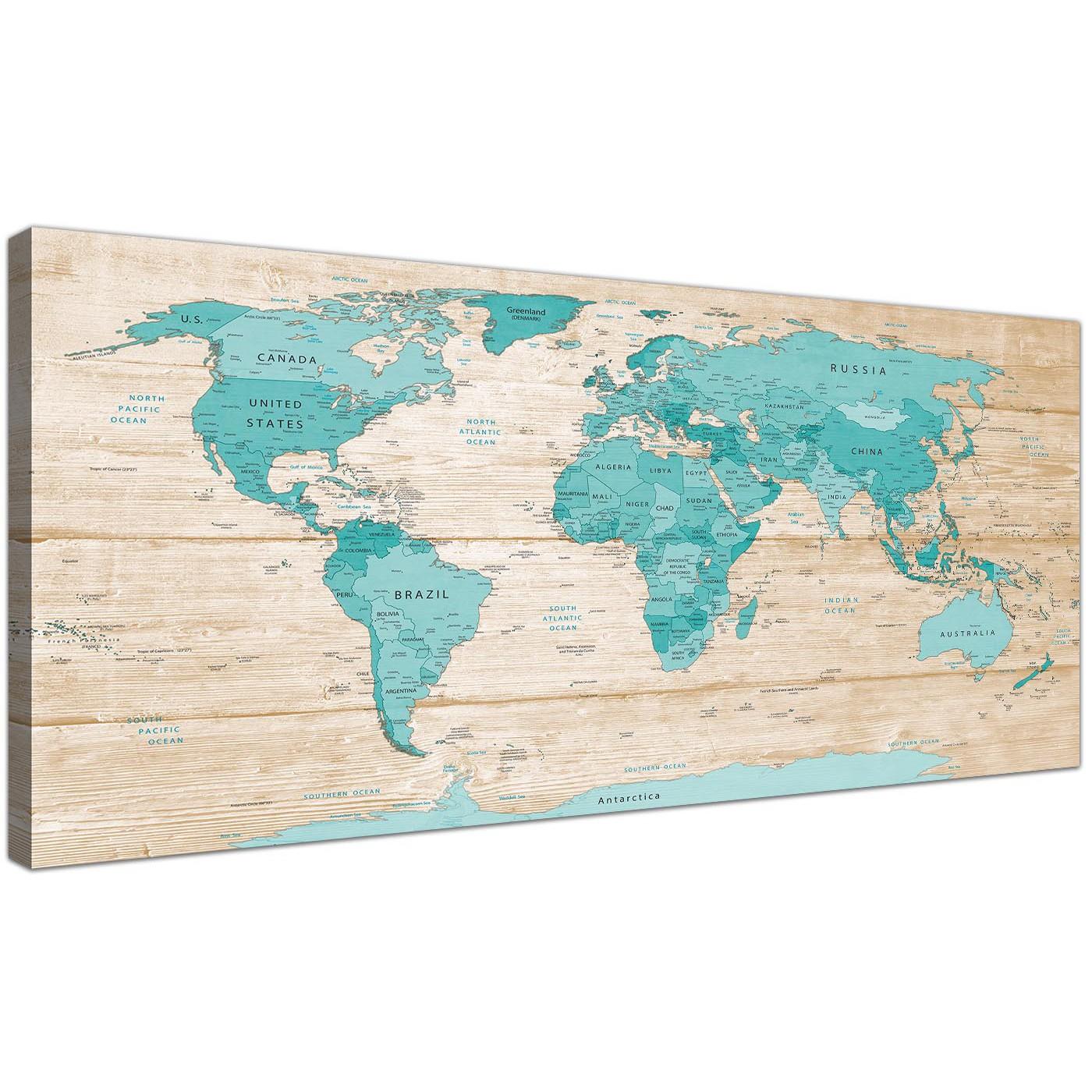 Large Teal Cream Map Of World Atlas Canvas Wall Art Prints Modern - Oversized map prints