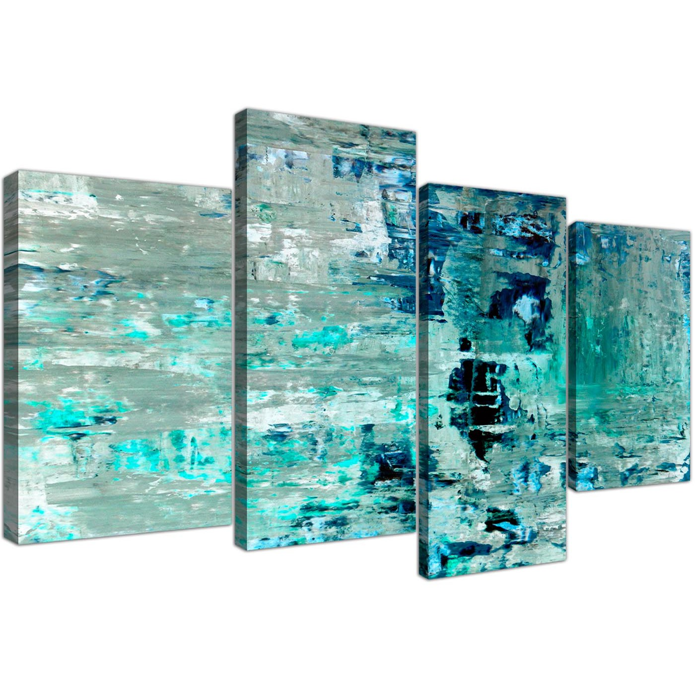 Oversized large turquoise teal abstract painting wall art print canvas split 4 set 4333 for your display gallery item 1