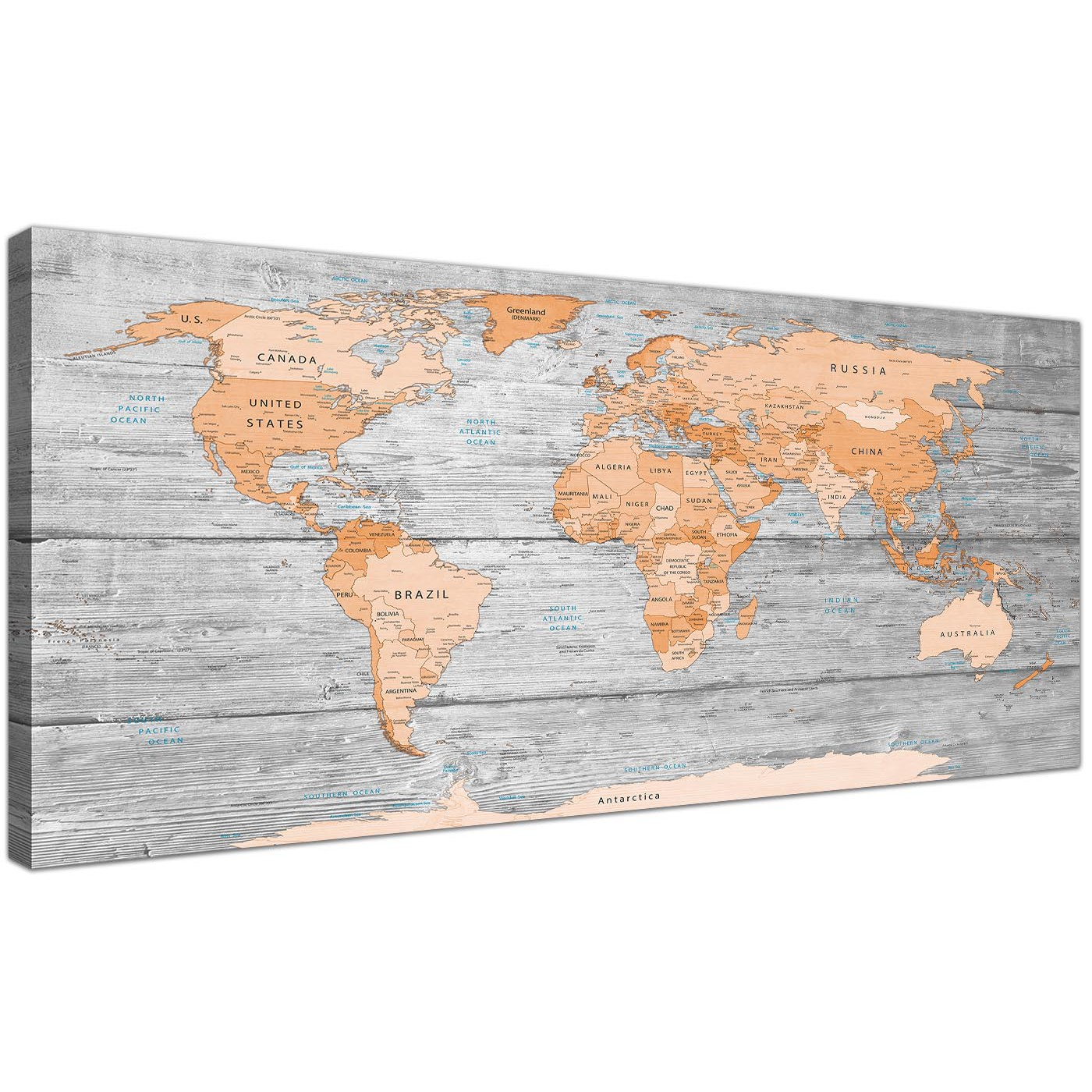 Large orange grey map of world atlas canvas wall art print modern oversized orange cream large orange grey map of world atlas canvas wall art print maps canvas display gallery item 1 gumiabroncs Choice Image