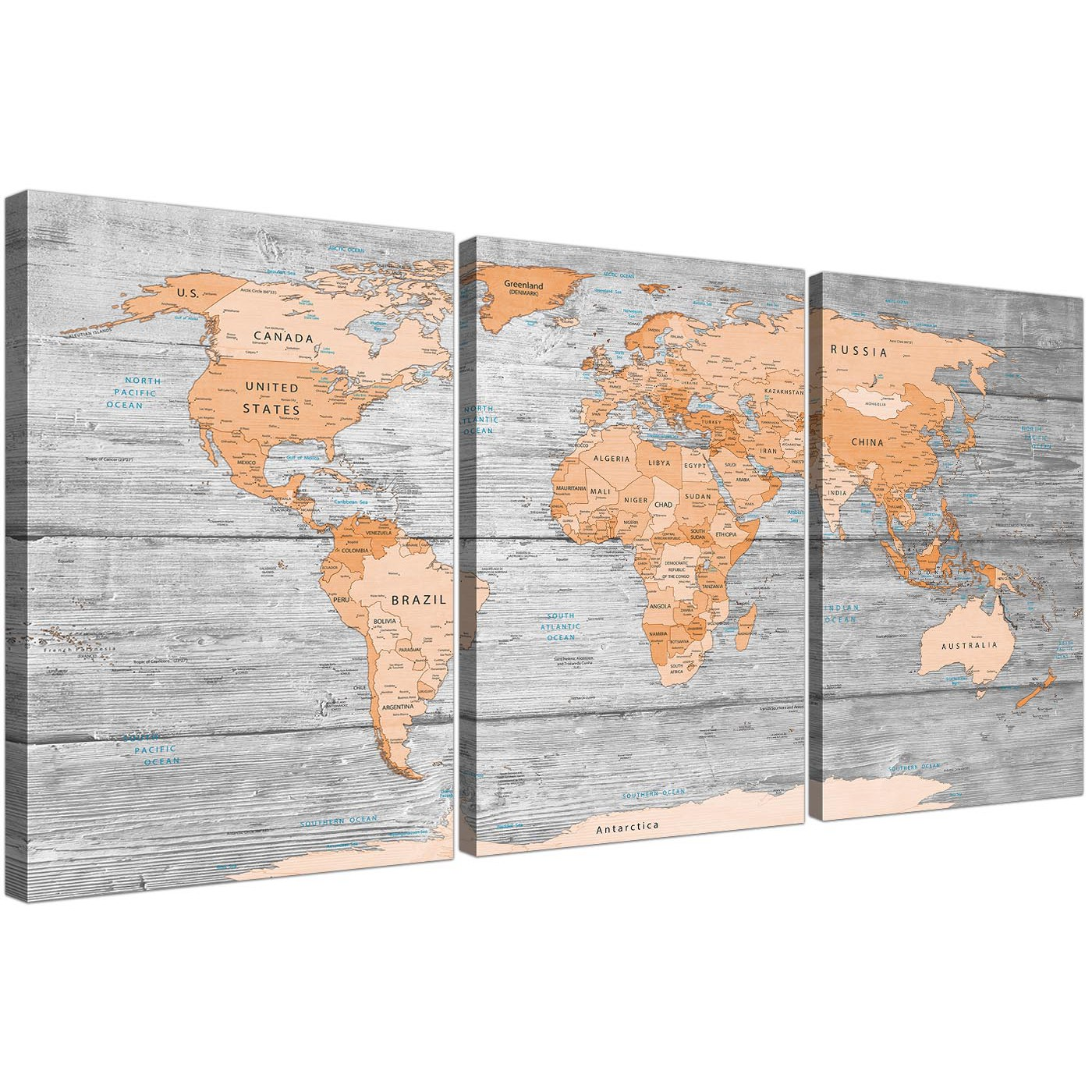 Wonderful Oversized Orange Cream Large Orange Grey Map Of World Atlas Canvas Wall Art  Print Maps Canvas Display Gallery Item 1 ...