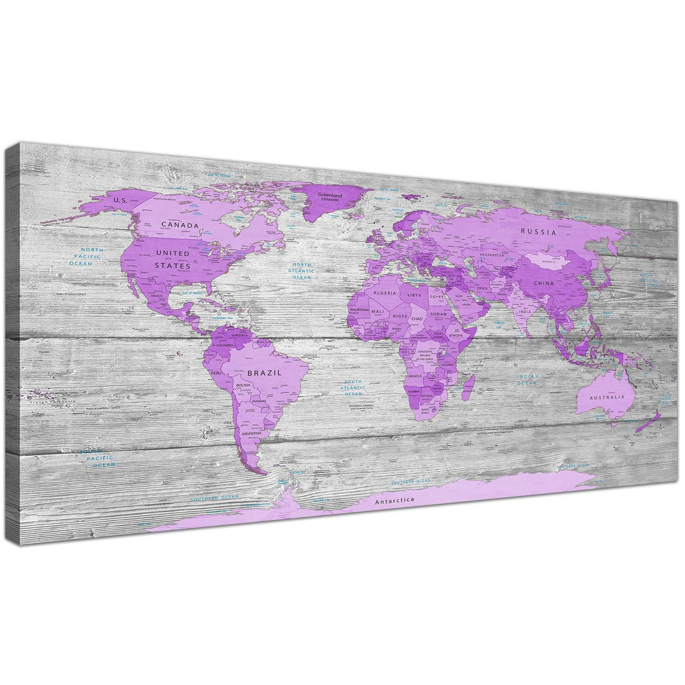 Large Purple And Grey Map Of World Atlas Canvas Wall Art Print - Cheap large maps