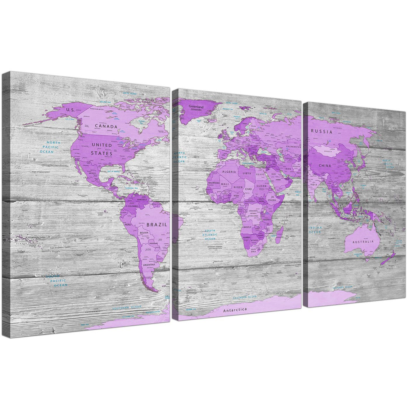 Large Purple And Grey Map Of World Atlas Canvas Wall Art Print