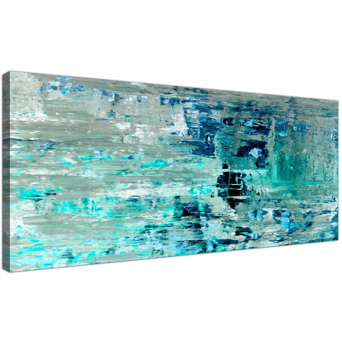Perfect Oversized Turquoise Teal Abstract Painting Wall Art Print Canvas Modern  120cm Wide 1333 For Your Living Display Gallery Item 1 ...