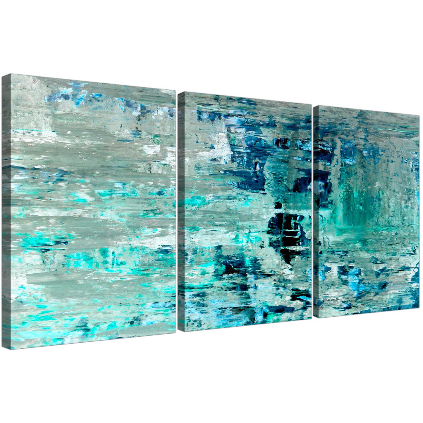 Great Oversized Turquoise Teal Abstract Painting Wall Art Print Canvas Split 3  Panel 3333 For Your Bedroom Display Gallery Item 1 ...