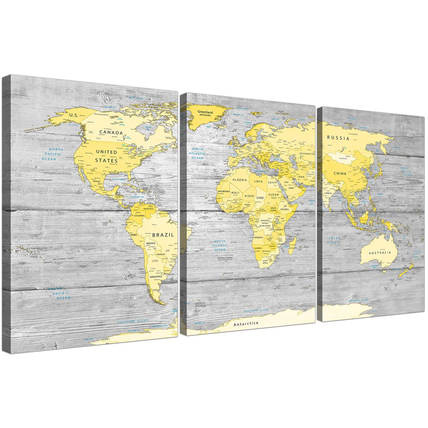 Yellow Grey Map of World Atlas Canvas Wall Art Print