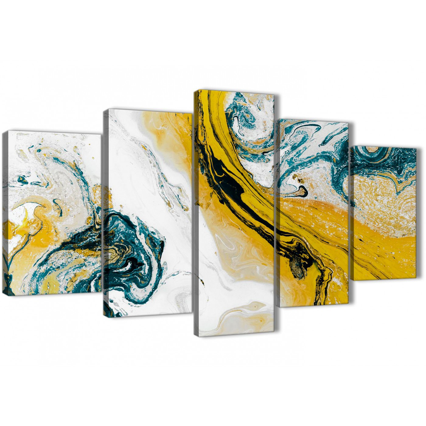 Bedroom Canvas Wall Art Uk: Mustard Yellow And Teal Swirl Bedroom Canvas Pictures