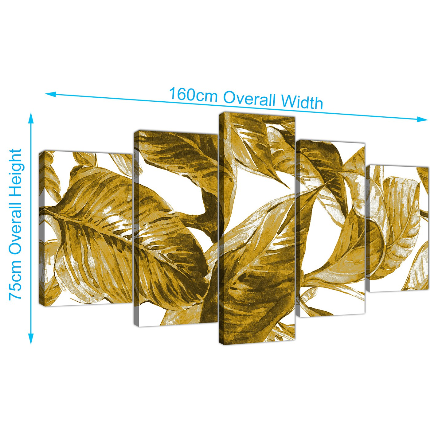 Extra Large Mustard Yellow White Tropical Leaves Canvas Wall Art ...