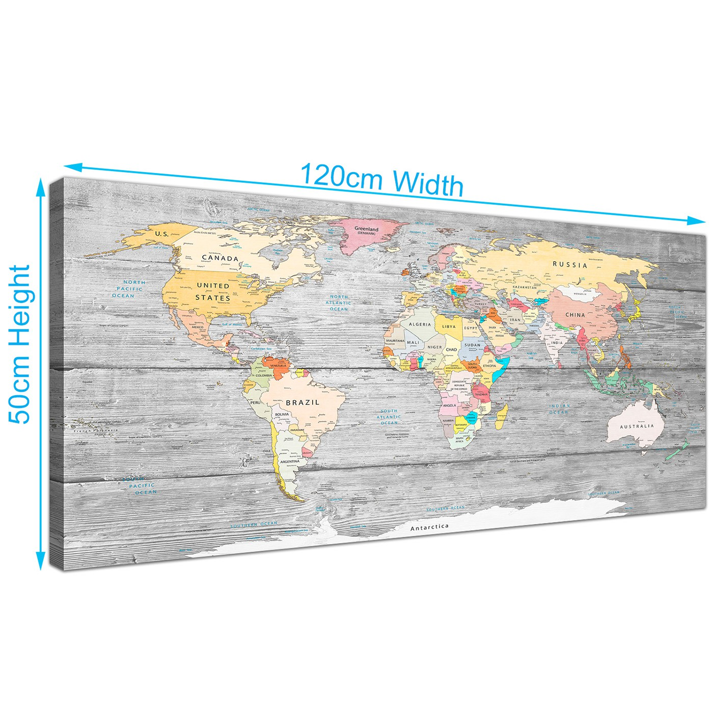 Large map of world canvas art print colourful light grey modern display gallery item 2 panoramic grey large map of world canvas art print colourful light grey maps canvas modern 120cm display gallery item 3 gumiabroncs Gallery